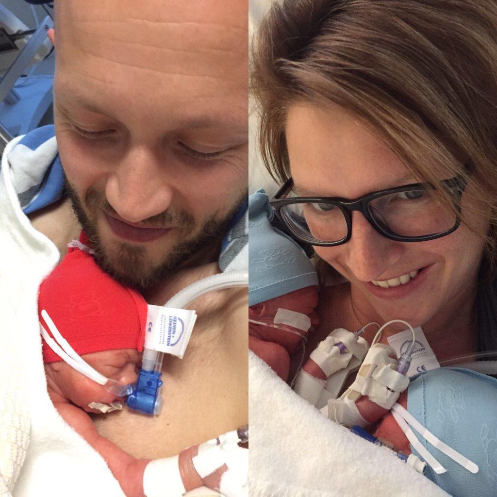 drieling geboren 31 weken, nice intensive care, cpap ademondersteuning, trotse ouders, meerlingouders, newborn prematuur